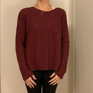 Burgundy holey sweater
